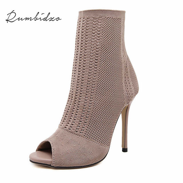placeholder Rumbidzo Women Boots 2017 Fashion Europe Knitting Peep Toe  Socks Bootie Hollow Thin High Heels Boots de413d3ae7ae