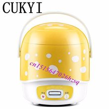CUKYI 200w power 1.2L capacity 220V input mini rice cooker lunch box suited for 1-2 people can stew soup , heat lunch box(China)