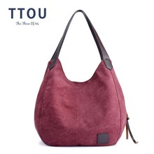 TTOU Canvas Bag Vintage Canvas Shoulder Bag Women Handbags Ladies Hand Bag Tote Casual Bolsos Mujer Hobos Bolsas Feminina 2018 yubird canvas tote zipper casual women big bag large bag fabric cloth ladies hand bag handbags for school bolso grande mujer