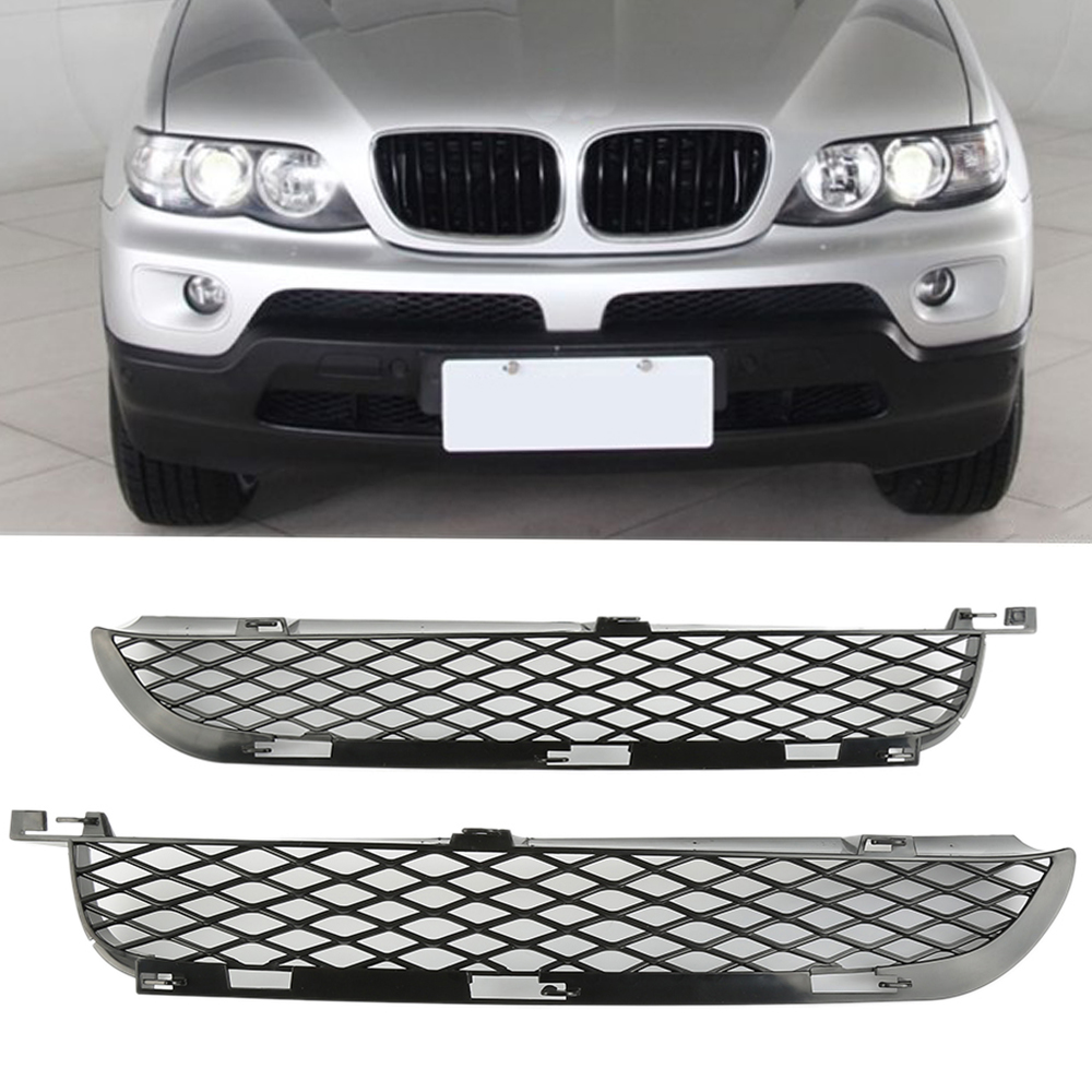 A Pair of Car Front Left & Right Fog Light Bumper Lower Air Outlet Grilles Fits for BMW X5 E53 2003-2006 Car Styling