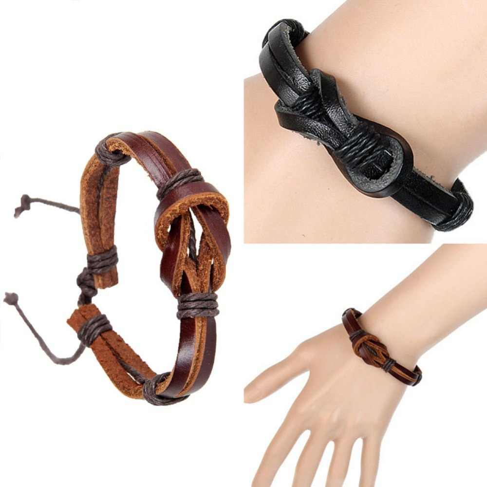 New Retro Leather Strap Hand-woven Creative 8 Shaped Buckle Knot Leather Bracelet Color Black