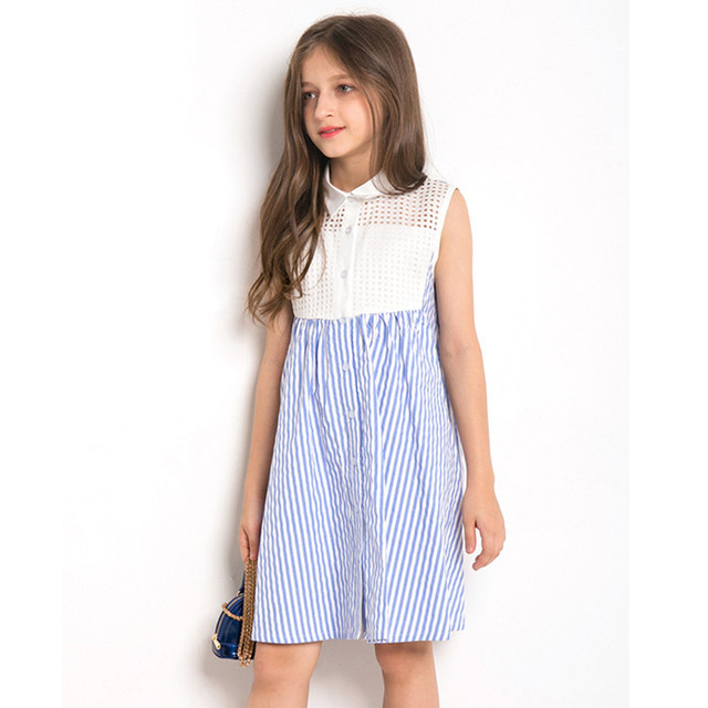 27b07708b Online Shop Fashion Girls Long Sleeveless Dress Striped Cotton Dress ...