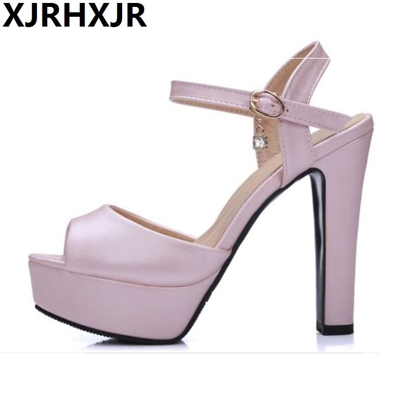 2017 Summer New High Heels Sandals Women Shoes Platform Fish Head Blue White Pink Fashion Female Shoes Big Size 32-43 women creepers shoes 2015 summer breathable white gauze hollow platform shoes women fashion sandals x525 50