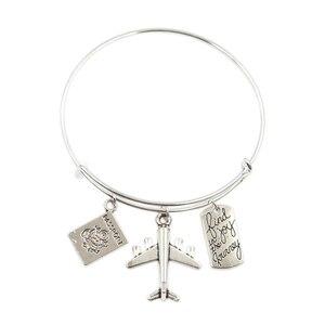 Enjoy Travel Earth Airplane Passport Compass Pendant Diy Handmade Charms Men Bracelets Women Bangles Jewelry Souvenir For Gift