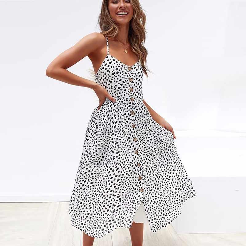 DeRuiLaDy 2020 נשים קיץ חוף שמלה סקסי רצועות Boho פרחוני טוניקת ארוך שמלת נשים מקרית שמלה קיצית כיס שמלות