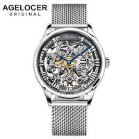 Часы AGELOCER из нержавеющей стали, мужские часы с скелетом, Топ бренд класса люкс, модные автоматические часы, полые мужские часы класса люкс