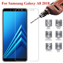 Tempered Glass for Samsung Galaxy A8 2018 on Screen Protector Phone Film A830 2PCS