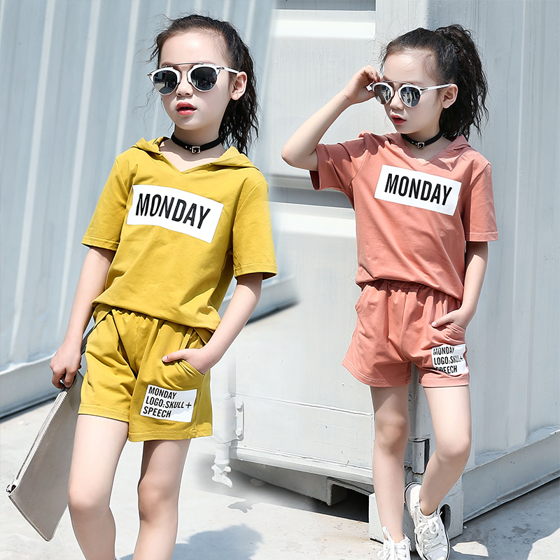 2018 Baby Sets Baby Girl Clothes Baby Two Piece Suit Summer Letter Printing Kids Clothing Set Girl Pants T-shirt Suit Hooded 2018 checkered baby sling suit summer