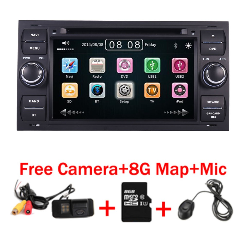 Black Piano 7 inch Capacitive Touch Screen Car DVD Player for Ford Focus Kuga Transit 3G Bluetooth Radio RDS USB SD Free GPS Map android 8 0 dab autoradio sat navi wifi 3g rds sd dvr obd bluetooth dtv in car gps navigation player for ford transit focus