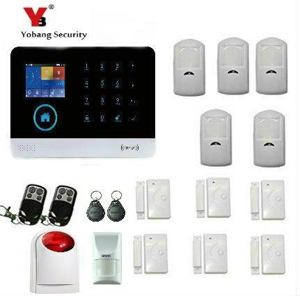 YobangSecurity Touch Screen Wireless Wifi GSM House Alarm With wireless Strobe Flash Siren Pet Friendly Immune Detector eureka hex screen house