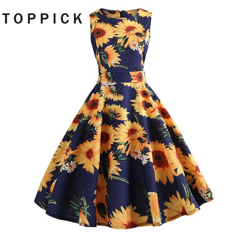 Plus Size Summer Dress 2018 Floral Vintage Women Dress 50s 60s Retro Big Swing Hepburn Sundress Vestidos M-XXL
