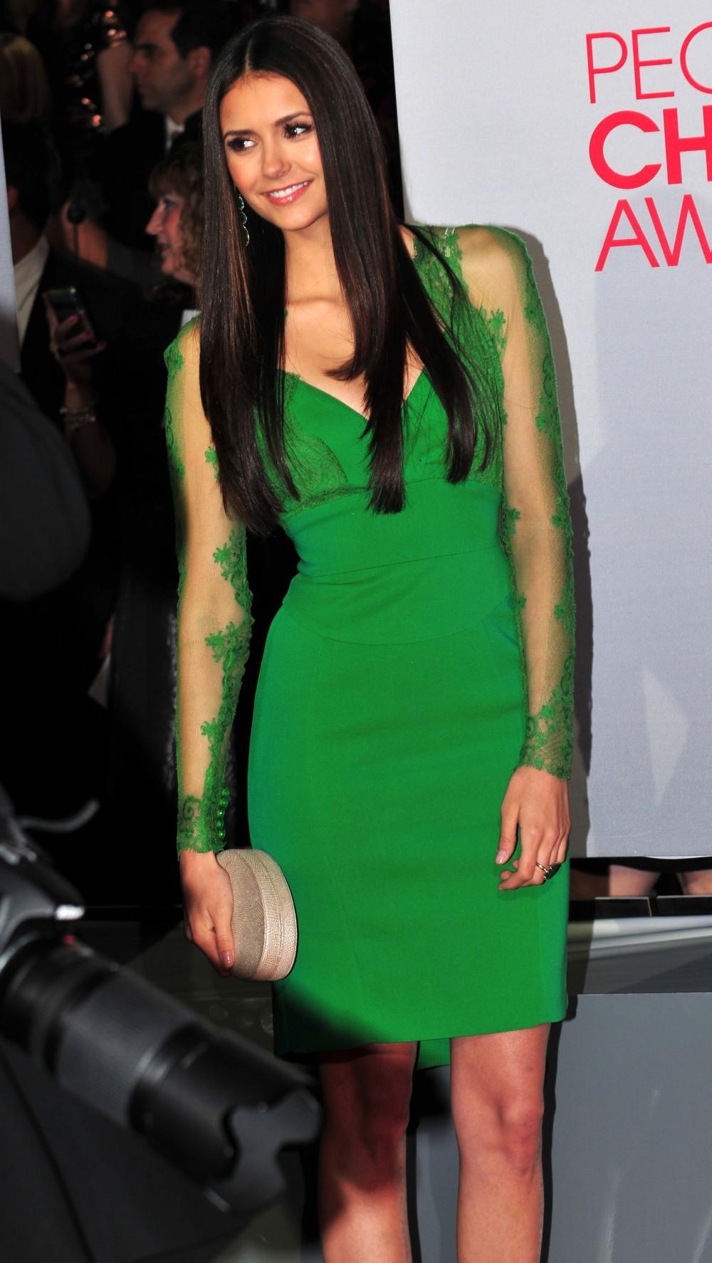 Green Full Sleeves Sheer Knee-Length Celebrity Drseses by Nina Dobrev In Elie Saab 2014 V-neck Sheath Evening Dress Gowns AJ149 135