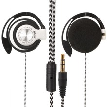 MP3 long Wire Headphone Earpeice Clip On Ear Headphones braided cable EarHook Gaming Earphone Headset For Computer PC phone