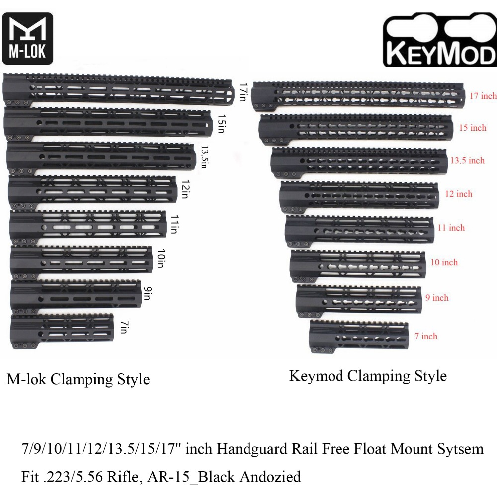TriRock 7/9/10/11/12/13.5/15/17'' inch Clamping Style Keymod/M-lok Handguard Rail Picatinny Free Float Mount System_Black Color