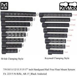 TriRock 7/9/10/11/12/13.5/15/17'' inch Clamping Style Keymod/M-lok Handguard Rail Picatinny Free Float Mount System_Black Color(China)