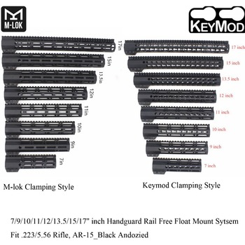 TriRock 7/9/10/11/12/13.5/15/17'' inch Clamping Style Keymod/M-lok Handguard Rail Picatinny Free Float Mount System_Black Color - discount item  5% OFF Hunting