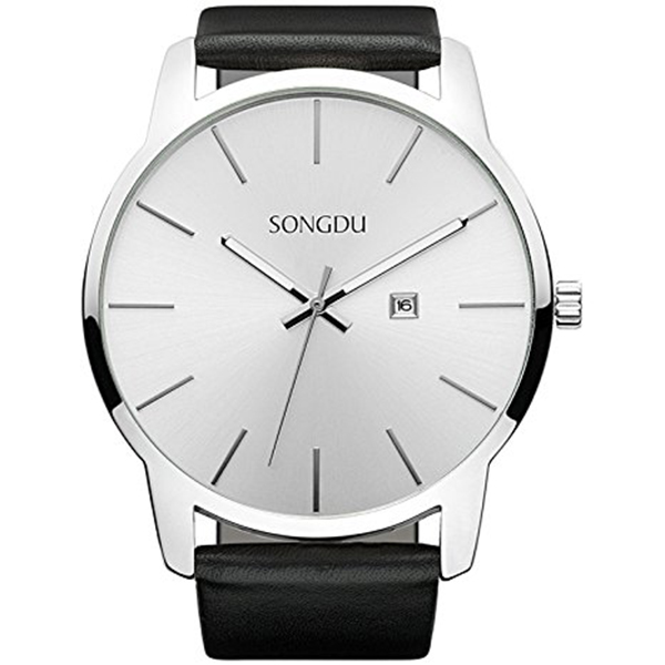 SONGDU Big Face Women's Men's Analog Date Leather Strap Wrist Watch