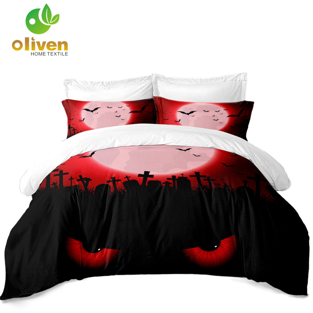3D Scarlet Moon Bedding Set Halloween Ghost Eye Print Duvet Cover Set Horrible Bat Grave Bedding King Queen Pillowcase D25