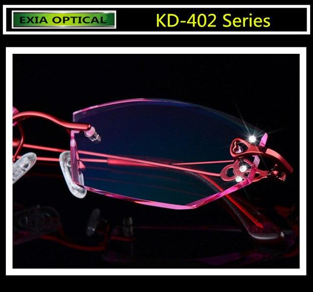 c77e028c228 Complete Eyeglasses Women Rimless Alloy Frame Colorful Optical Lenses EXIA  OPTICAL KD-402