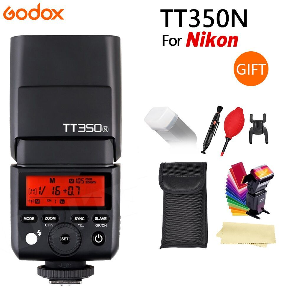 GODOX TT350N for Nikon camera 2.4G HSS 1/8000s TTL GN36 Flash Speedlite + Diffuser + CONXTRUE LED USB free gift