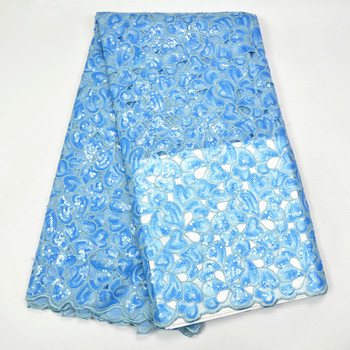 (5yards/pc) high quality handcut African organza lace fabric with lots of sky blue and white sequins embroidery for dress