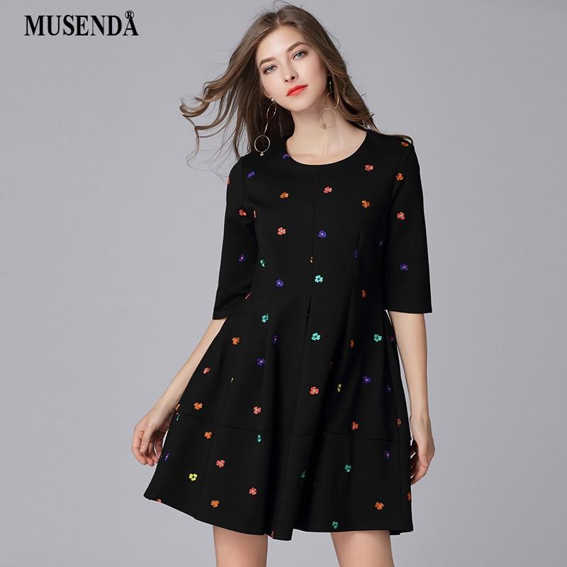 MUSENDA Plus Size Women Black Floral Embroidery 1/2 Sleeve Tunic Draped Dress New 2018 Spring Female Sweet Dresses Vestido Robe