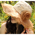 2016 Женщин Вс Hat Мода Ткани Солнце затенение шляпа Цветок складной женский летнее солнце шляпа шляпа летом