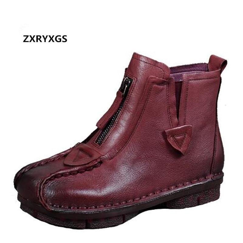 ZXRYXGS marca hecha a mano botas Retro de mujer 2019 más nuevo Otoño Invierno comodidad antideslizante botas planas zapatos de cuero genuino tobillo botas-in Botas hasta el tobillo from zapatos on AliExpress - 11.11_Double 11_Singles' Day 1