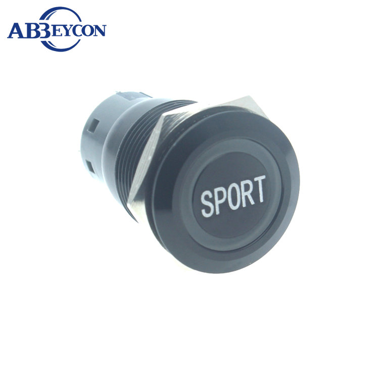 Abbeycon 19mm Flat round head ring orange LED push button switch SPORT words engraving ON-OFF metal black self-locking switch