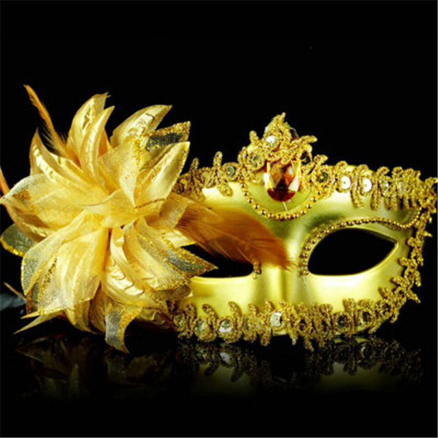 9 Color Sexy Diamond Venetian Mask Venice Feather Flower Wedding Carnival Party Performance Costume Sex Lady Mask Masquerade Hot 3