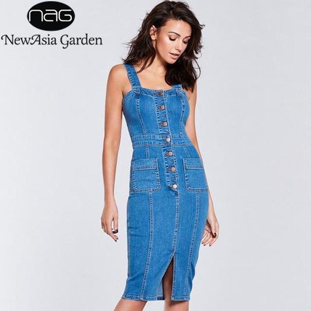 NewAsia Garden Denim Dress Sleeveless Sexy Summer Dress Pencil Jeans Dress  Elegant Bodycon Party Dresses Midi Vestido Plus Size 8db6dc0944d6