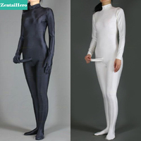 Free Shipping DHL Black/White Solid Color Spandex Lycra Catsuit, Women Unitard Catsuit with Penis no Hood Hands Back Zip S0923