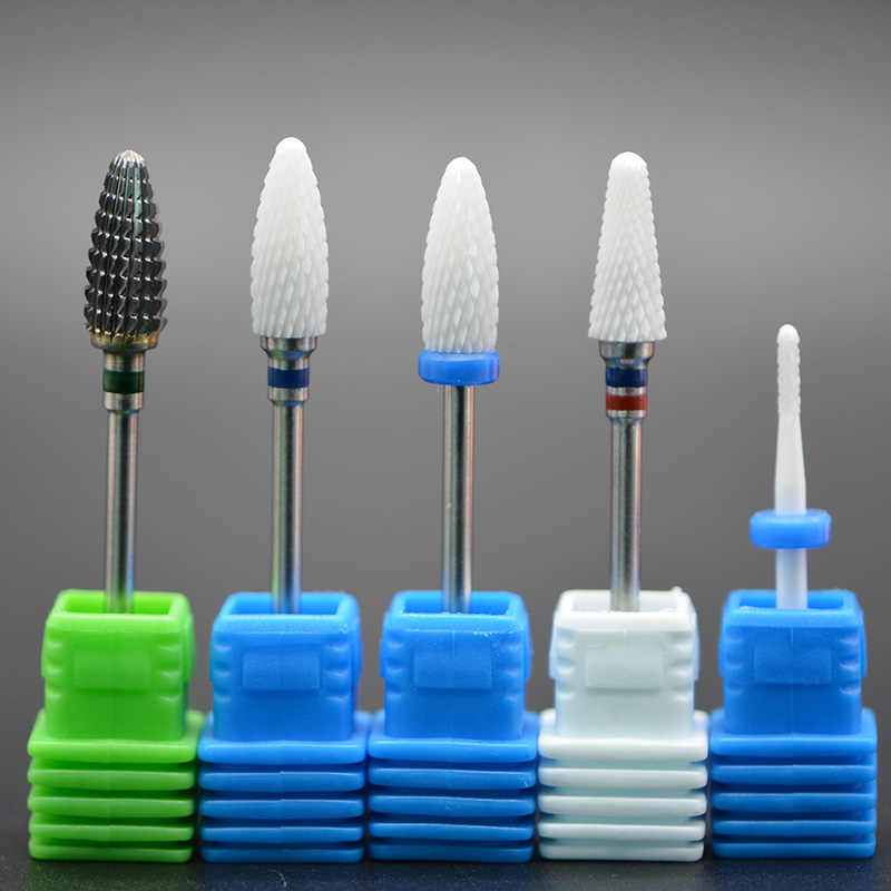 MAOHANG Ceramic carbide nozzle cutter nail drill bit for electric drill manicure machine removel gel varnish cuticle clean