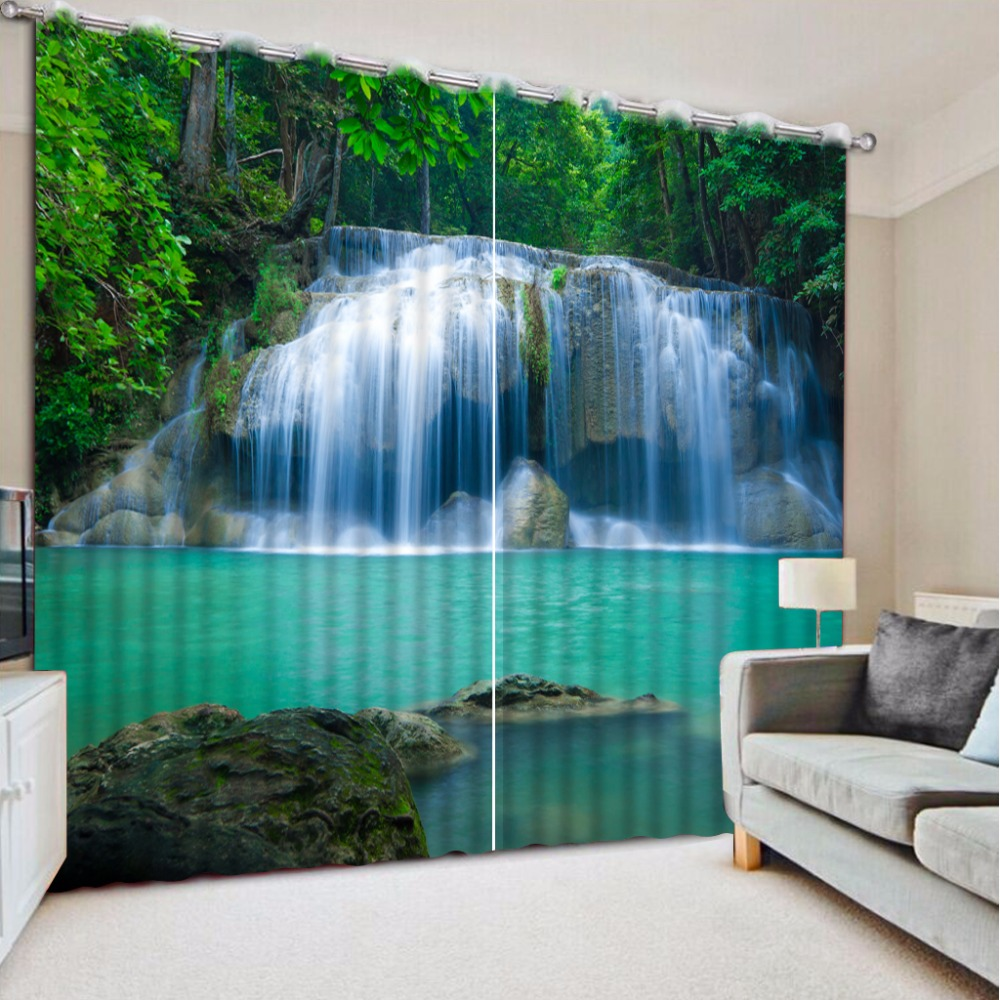 3D Curtain Photo Customize Size Green Forest Waterfall Curtains For Bedroom Curtains For Living Room Blackout Shade Window