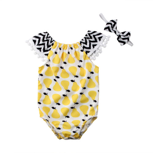 Newborn Infant Baby Girls Pear Print Tassel Romper Girls Jumpsuit Sunsuit Clothes 0-24M