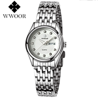 WWOOR Womens Quartz Ladies Wristwatch Stainless Steel Band Brief White Pink Red Dial Women Watches Waterproof