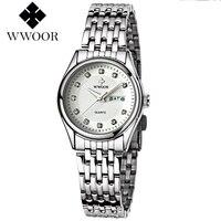 WWOOR Womens Quartz Ladies Wristwatch Stainless Steel Band Brief White Pink Red Dial Women Watches Waterproof