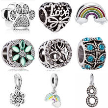 High Quality Luxurious Tree Rainbow Girl Dragonfly Shoes Key Heart Minnie Bead Fit Original Pandora Charms for Women DIY Jewelry(China)