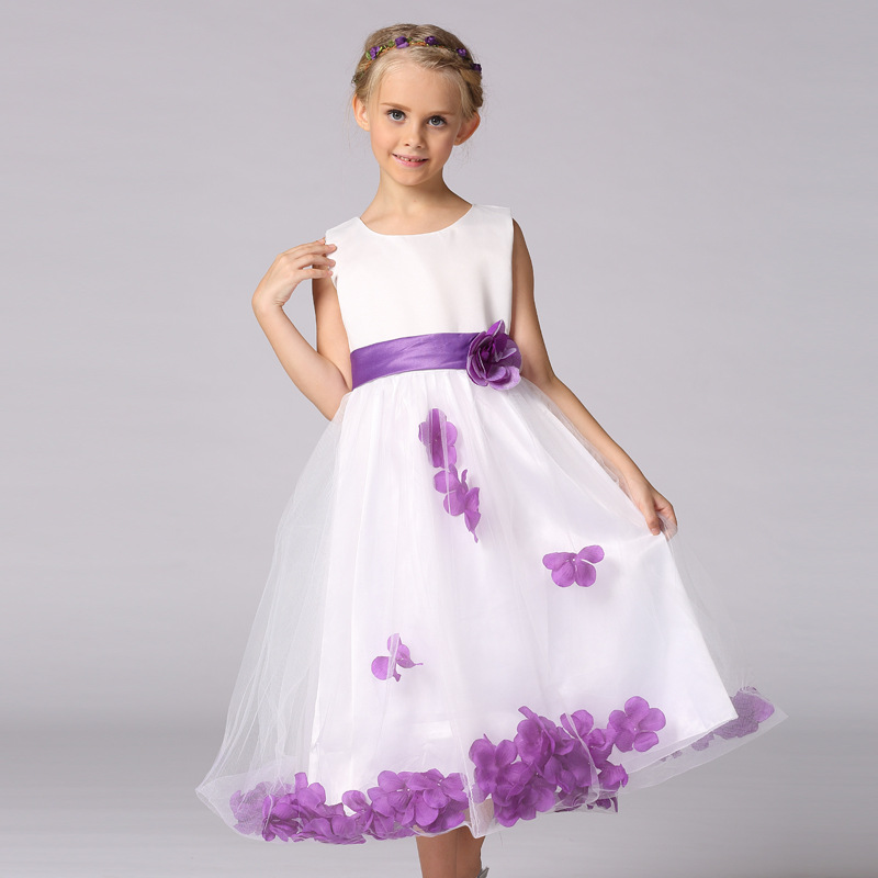 Flowers Girl Dresses Rose Petal Wedding Dress Easter Bridesmaid For Baby Children Toddler Teen Girls Frocks 4 6 8 10 12 14 Years