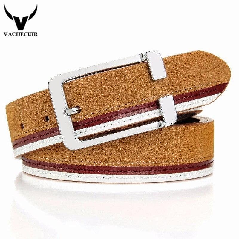 Vachecuir diseñador cinturones hombres de alta calidad cowskin Suede lujo  cinturones de cuero genuino para los hombres 74bbfb47e648e
