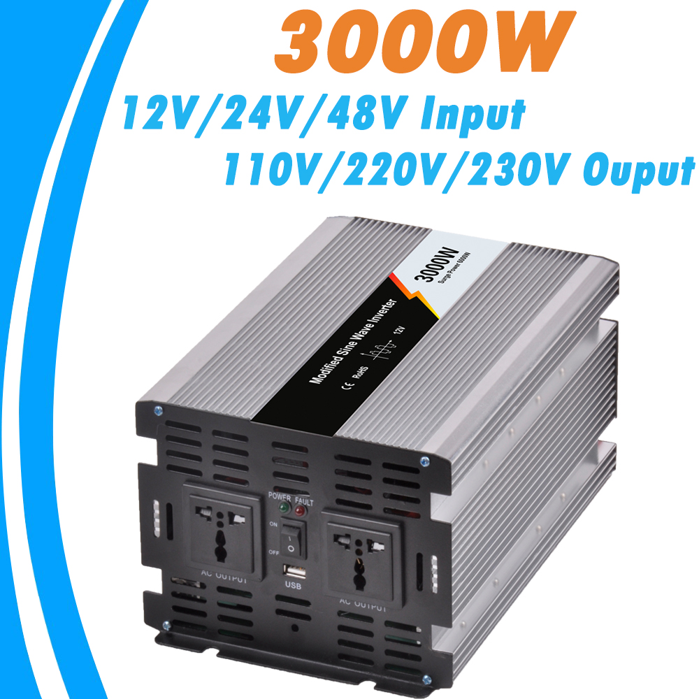 3000W Modified Sine Wave Off Grid Tie Inverter Optional 12V/24V/48V DC Input and 110V/220V AC Output Microprocessor Based Design micro inverters on grid tie with mppt function 600w home solar system dc22 50v input to ac output for countries standard use