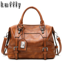 KMFFLY Luxury Vintage Handbags for Women Leather Shoulder Bag Female Famous Brand Simple Casual Tote Bag Sac Femme Handbag 2019(China)