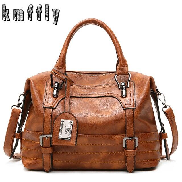 KMFFLY Luxury Vintage Handbags for Women Leather Shoulder Bag Female Famous Brand Simple Casual Tote Bag Sac Femme Handbag 2019