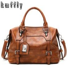 Женская кожаная сумка KMFFLY, винтажная сумка через плечо, простая повседневная сумка тоут, 2019