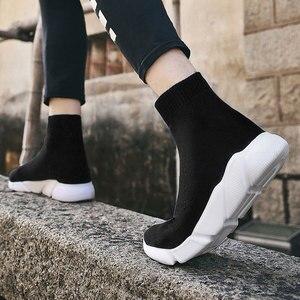 Image 5 - をmwy新ストレッチ靴下靴女性フラット通気性スニーカーの靴高トップ女性カジュアルシューズzapatos mujer schoenen