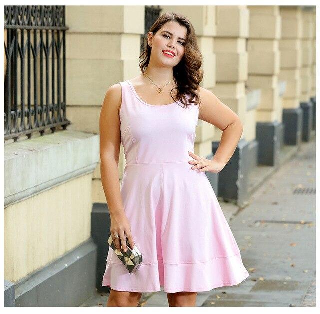 a1e3ef3d6d6 Large size women sleeveless knitted tank dress summer sundress Black Pink  flowy dress plus size dresses