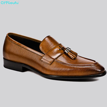 QYFCIOUFU  Italian Designer Men Oxford Genuine Leather Shoes High Quality Cow Leather Luxury Comfort Tassel Party Work Shoes