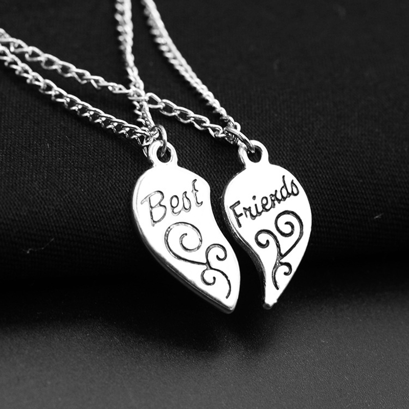 1 pair Words Best Friends&Mother Daughter Two Parts of Heart Sivler Necklace for Men Women image