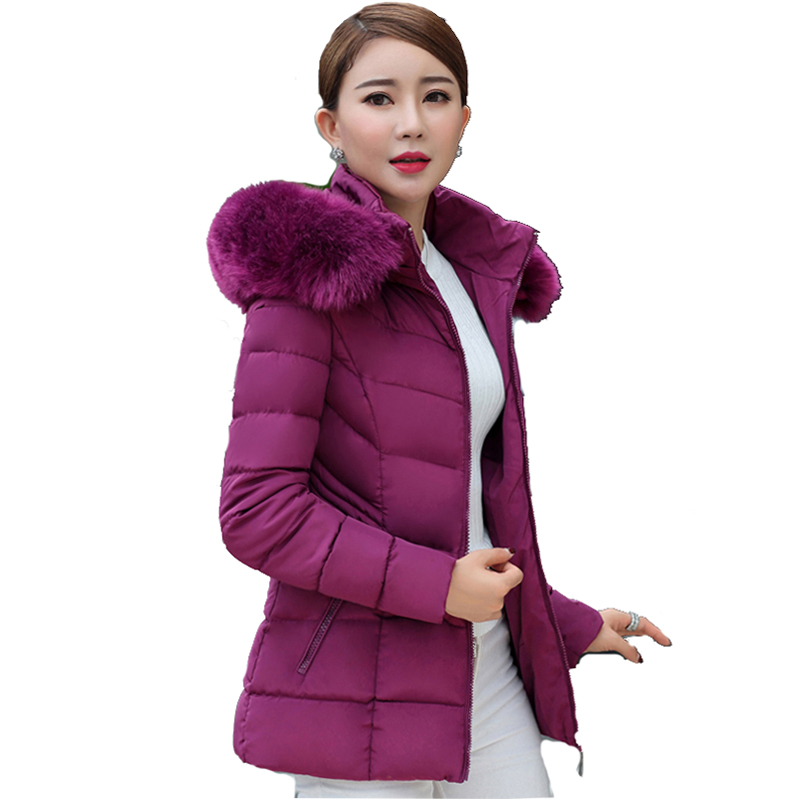 Short fur collar winter jacket women autumn cotton padded solid color womens parka with hood high quality female coat 2019