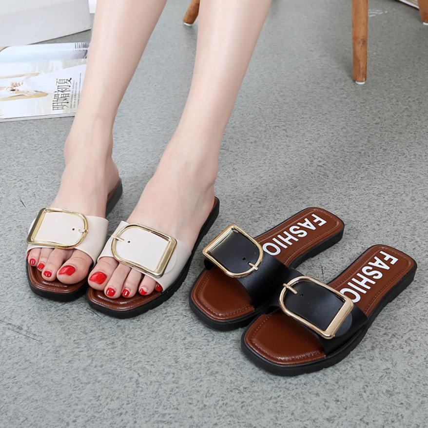 SAGACE Shoes Flip flops Fashion Summer Flat Heel Square Buckle Sandals Slipper casual shoes women 2018JU8 lastest women summer sweet sandals slipper fashion solid color suede flower bow hasp flat heel square toe sandals schuhe damen